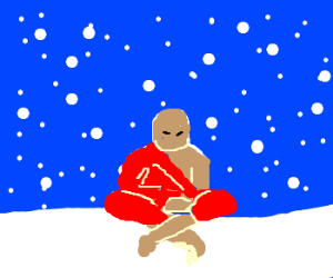 Monk meditates in the falling snow.