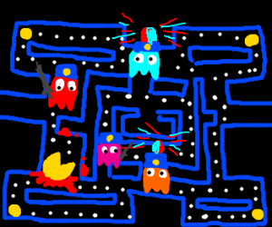 Pac-Man Ghosts are cops on the way to a crime.