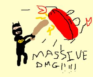 Batman holding a bat VS giant crab