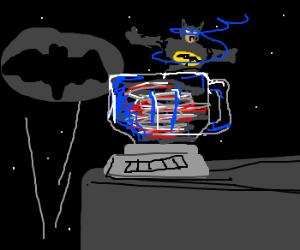The Dark Knight blending into the night.