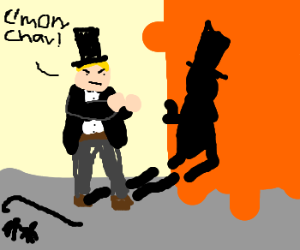 Gentleman fights with his shadow