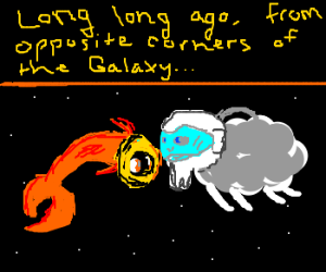 sheep and fish meet in space