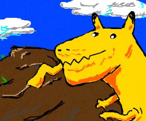 pikachu encounters his prehistoric ancestors