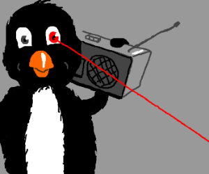 Penguin with ghettoblaster and lasereye