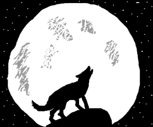 silhouette of lone wolf howling at the moon
