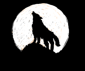 silhouette of lone wolf howling at the moon drawception