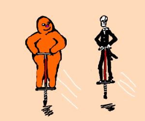 Orange monster & SkeleButler on pogo stix