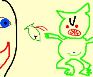 A goblin angrily throws sushi at a smiling fac