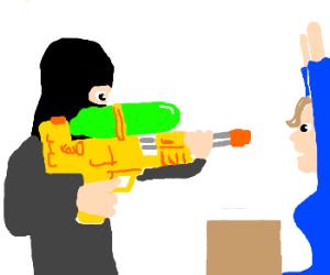 Man uses a Super Soaker to rob a bank.
