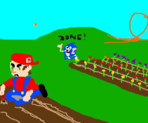 Mario and Sonic grow flowers. Gotta grow fast!