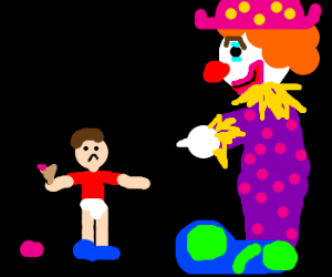 Clown enjoys other peoples misfortune