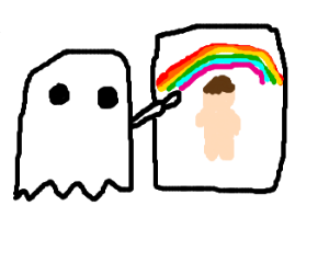 A ghost paints a rainbow man