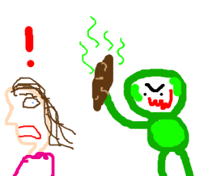 one-armed green man scares woman with a turd