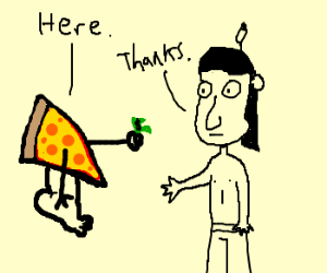 Pizza with a foot pays a sad Native American