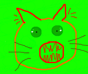 Red-eared, green-eyed, irradiated cat.