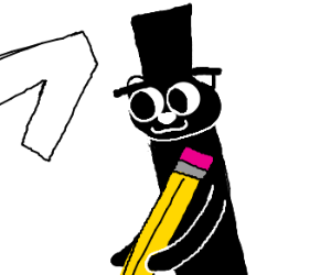 black weasel with hat and white one, writing