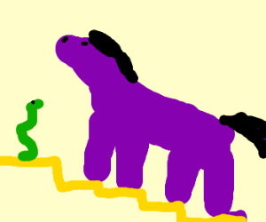 purple house with yellow stair and a snake