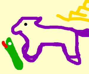 Purple horse/yellow stairs/green snake