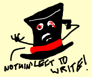 Top hat with writer's block