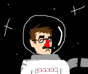 "spacesuited astronaut wears ""groucho"" glasses"