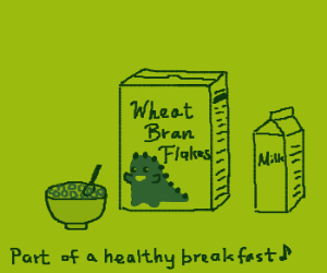 wheat flavored bran flakes with dino mascot