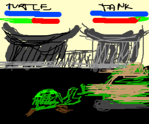 mortal combat game: turtle vs. tank