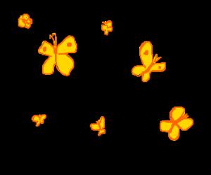 Golden butterflies in the darkness
