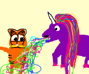 Garfield Was puked on by a rainbow unicorn
