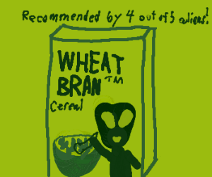 Alien appears on cover of Wheat Bran cereal