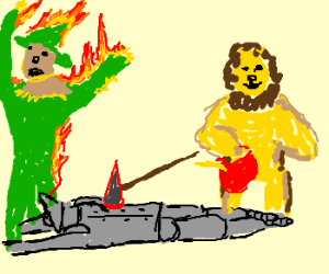 Cowardly Lion murdered Scarecrow & Tin Woodman