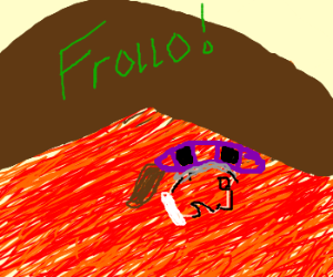 frollo falls into the lava