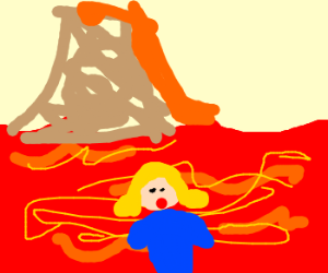 girl drowns in lava