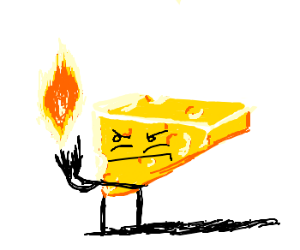 cheese man holds ball of fire