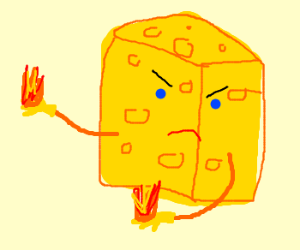 Cheese shooting flames from his hand
