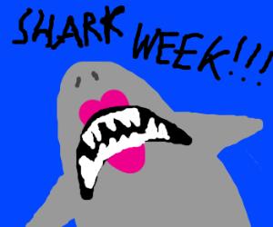 "Lipstick wearing shark yells ""Shark Week"""