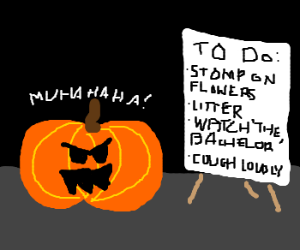 Evil jackolantern has to-do list of evil plans