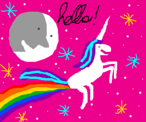 Moon is greeting a unicorn farting rainbow