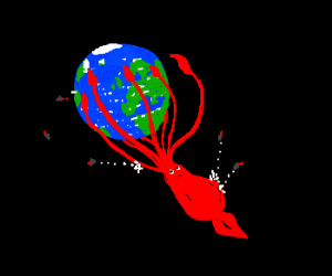 squid grasping the planet earth