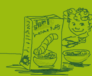 Larvae puffs cereal