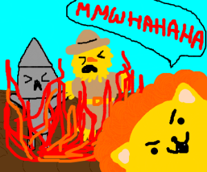 Lion sets fire to Scarecrow and Tinman