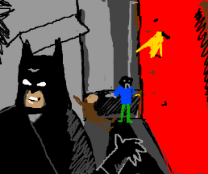 Batman:Hmm, I wonder if I should save that man