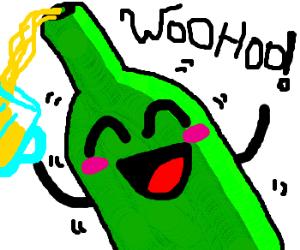 drunk beer bottle