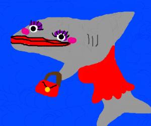 Shark Hooker with too much makeup