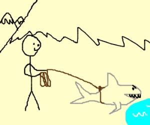 Man lassos a shark in mountain lake