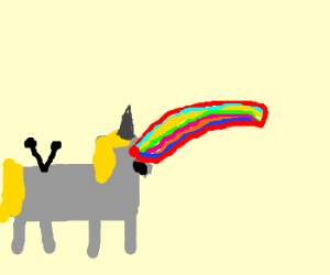 Robot unicorn with rainbow lazer beam eyes!