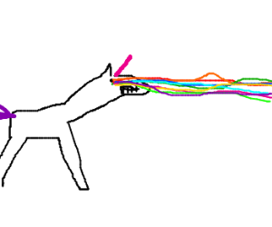 unicorn with rainbow eye lasers
