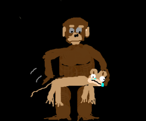 Spanking the monkey - literally.