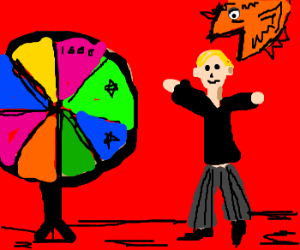 Gameshow involving spinning wheel and a fish