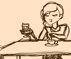 Woman enjoys tea and wine at table