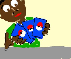 Black kid plays pokemon